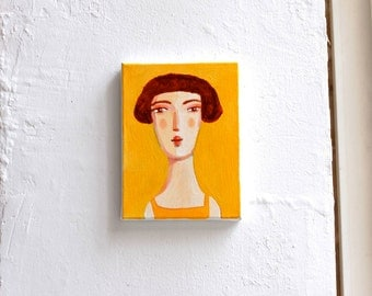 yellow portrait  original painting on canvas