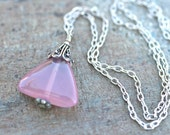 SALE  Triangle Pink Rose Quartz Gemstone Pendant Sterling Silver Necklace 16 Inches