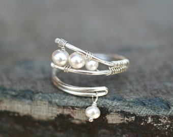 White Freshwater Pearl Abstract Wire Wrapped Sterling Silver Handmade Ring Size 7