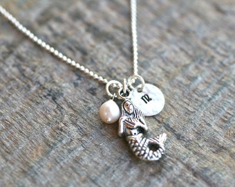 Mermaid Necklace Hand Stamped Personalized Initial and White Freshwater Pearl Charm Sterling Silver Necklace
