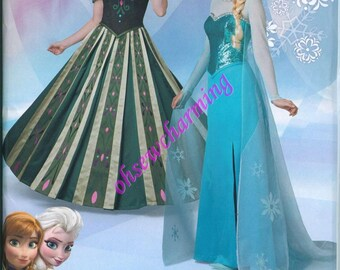 Simplicity 1215 Frozen Costume Sewing Pattern Elsa Anna Womens Sizes 14-16-18-20-22 Gown Dress
