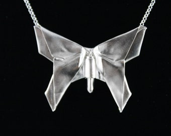 "Silver Origami Butterfly Necklace,Butterfly Necklace,Swallowtail Butterfly Pendant,Handmade Origami Charm on 18"" Cable Chain,Butterfly Charm"
