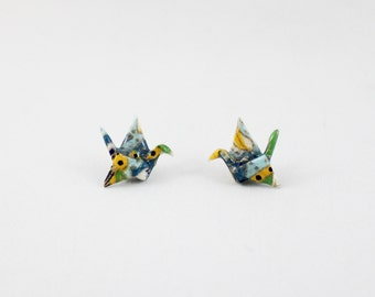 Origami Paper Crane Stud Earrings, Origami Earrings, Origami Jewelry, Paper Jewelry, Bijoux Origami, Unique Earrings, Colorful Origami Post