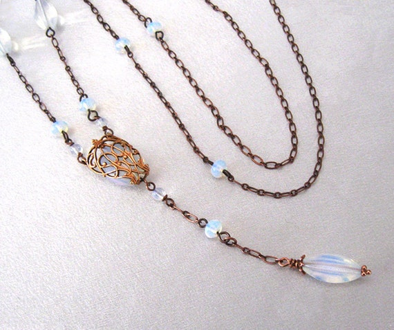 Opalite Glass Bead Necklace, Long Sautoir Art Deco Style, Filigree Pendant Antique Copper
