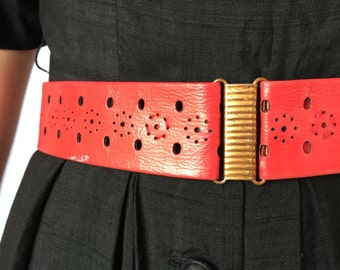 Vintage Red Leather Belt - Copper Closure - 2 inches Wide - 28 Inches