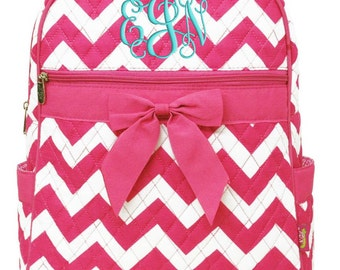 Personalized Backpack Chevron Hot Pink Bookbag Quilted Monogrammed