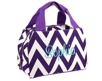 Personalized Lunch Bag Purple Chevron Insulated Monogrammed School