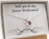 Will You Be My Junior Bridesmaid Necklace Gift, Birthstone Jewelry February Birthstone Necklace, Initial Necklace Amethyst Purple Necklace