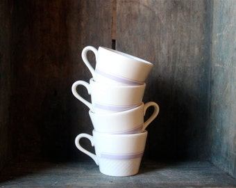 White and Lavender China/ Ceramic  Coffee or Tea Cups/ Mugs - Listing is for One Mug - Four Available - Lavender Stripe - Cross Hatch Design