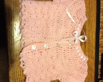 Tiny knitted pink TODDLER cardigan