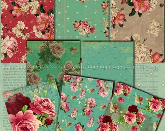 INSTANT DOWNLOAD - Heavenly Roses  - 2.5 x 3.5 inches - ACEO  - Collage Sheet - Printable Download - Gift Tags - Scrapbook