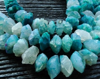 big teal blue chalcedony rough rondelle beads, full strand, blue agate beads, by BrazilianGems
