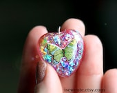butterfly necklace, colorful rainbow, glitter resin pendant, rainbow butterfly jewelry, glitter heart, handmade resin jewelry by isewcute