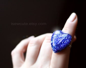 Glitter Heart Resin Ring, Navy Blue, Sparkly Ring - adjustable size for teens to women, resin jewelry, blue heart ring handcrafted isewcute