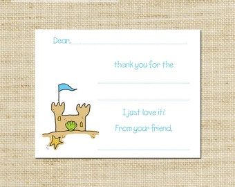 Kids Thank You Notes - Beachy Sand Castle  Fill In Thank You Cards - 10 cards & envelopes