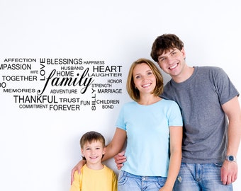Family Vinyl Decal, Word collage, family quotes, large wall decals 60 x 24, living room decor, Adoption gifts,  Blended family