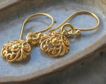 Gold Flower earrings, gold dangle earrings, Filigree Floral earrings, drop earrings, girlfriend gift, valentines gift
