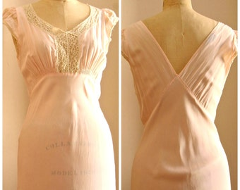 Betty Lou | Vintage 1930s Bias Nightgown in Pale Pink Rayon with Ivory Cotton Lace