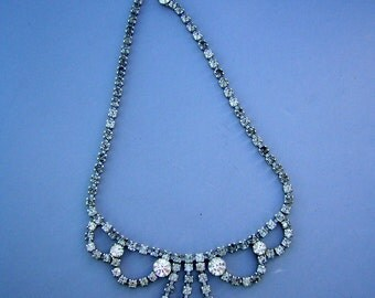 Vintage 1950s Rhinestone Necklace - D & E Juliana - Regal Bride or Prom
