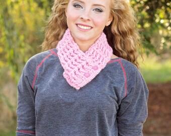 Womens Scarf Womens Scarflette Pink Scarflette Pink Scarf Pink Womans Scarf Crochet Scarf Knit Button Scarf Button Scarflette Pink Blossom