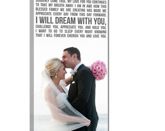 Gift Wedding Canvas Print, Your wedding vows on canvas Typography Canvas Wall Hanging  18X36