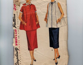 1950s Vintage Sewing Pattern Simplicity 4560 Misses Blouse and Skirt Two Piece Skirt Size 12 Bust 30 50s  99