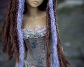 """7-8"""" MSD Brown with lilac accents BJD dreadlock wig"""