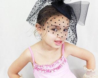 Black Hat, Girls Costume, Fascinator, Hair Accessory, Polka Dot Veil, Birdcage Veil, Black Bow, White, Ivory, Black Headband, High Fashion
