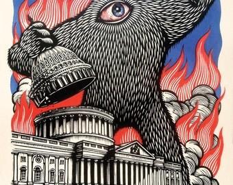 Congress Bad!!!  18x24 Woodcut Block Print