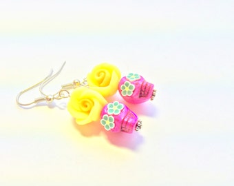 Pink Yellow Green Day of the Dead Sugar Skull and Rose Earrings