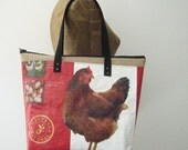 Tote Bag with Zipper Top, Recycled Chicken Feed Bag Tote with zip top, eco-friendly and Maine made