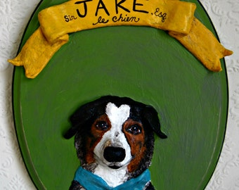 Custom Pets on Plaques®, Paper Mache Dog Art, Dog Memorial, Pet Folk Art, Paper Mache
