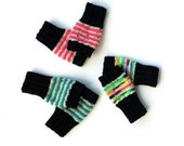 Hand Knit Fingerless Gloves for Women - Black Cream and Your Pick Your Stripe Color! Neon Teal Salmon Rainbow