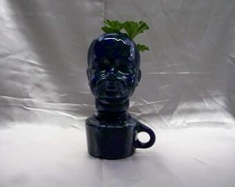Ceramic Doll Head  Planter Blue