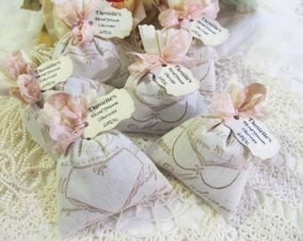 French Lingerie Lavender Mini Sachet Shower Favor w/ribbons - Set of Six - Choose Ribbon Color - Bridal Bachelorette Party - bras & panties