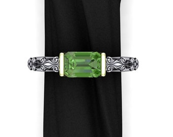 Green Australian Sapphire Ring with Floral Pattern Band, 14k White and Green Gold