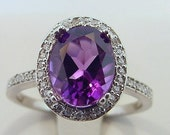 Natural Brazilian Amethyst 2.24 Carat 10 X 8mm. in a 14k White gold ring with diamonds (.33ct) Ring 0318