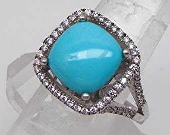 AAAA Untreated Sleeping Beauty Turquoise from Arizona  10x10mm  2.94 Carats   14K white gold halo ring set with .25cts of diamonds  0208