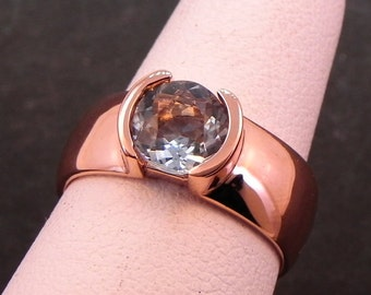 AAA Round Aquamarine in 14K rose gold ring   6.45mm  .82 Carats   1012 MMMM