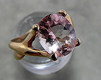 AAAA Pink Morganite   11x9mm  3.00 Carats   in 14K Rose gold - ELKE- ring  SPECIAL Price 1269