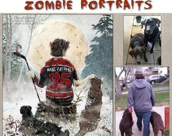 PERSONALIZED ZOMBIE PORTRAIT - Whimsical Art - Zombie - Zombie Art - The Walking Dead - Zombie Portrait - Zombie Gift - Zombie Fan - Art