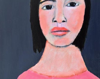 Digital Print. Woman Portrait Painting Art. Living Room Wall Decor. Wall Art Prints. Portrait Art Print.