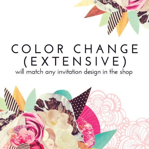 Cheap Design Changes That Have: Custom COLOR CHANGE For Any Invitation Design In The Shop