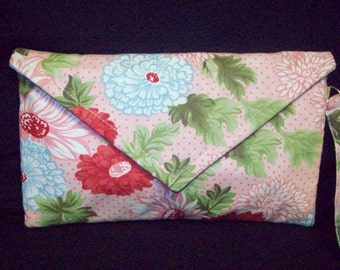 Floral envelope cluch bag