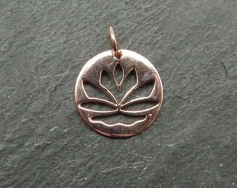 Rose Gold Vermeil Lotus Flower Pendant 15mm (CG6824)