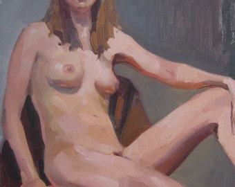 """Art painting nude figure portrait """"Triangle Pose"""" Original oil on canvas by Sarah Sedwick 14 x 11 inches"""