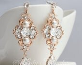 Rose Gold  Bridal earrings Wedding Jewelry Pearl Crystal Vintage Earrings Rhinestone Wedding LEILA DELUXE