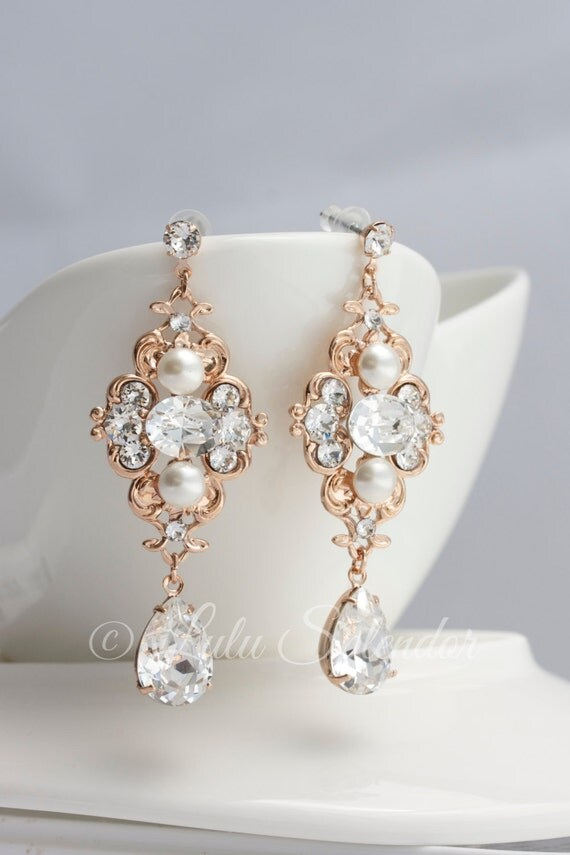 rose gold braut ohrringe hochzeit schmuck perle kristall. Black Bedroom Furniture Sets. Home Design Ideas