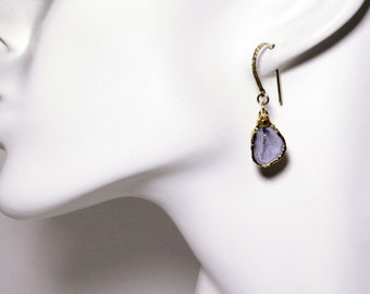 Agate Half Geode Druzy Earrings 24K Gold Dipped One of a Kind Earrings Raw Atone Earrings HG-E-101-012g