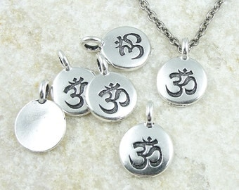 Delicate Eastern Om Pendant - 12mm Mini Pendant TierraCast OM CHARM - Antique Silver Charm Yoga Charm for Meditation Jewelry (P1222)